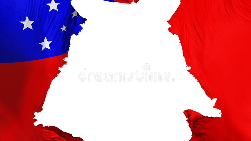 Ragged Apia flag. Ragged Apia, capital of Samoa flag, white background, 3d rendering vector illustration