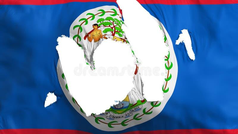 Ragged Belize flag. White background, 3d rendering stock illustration