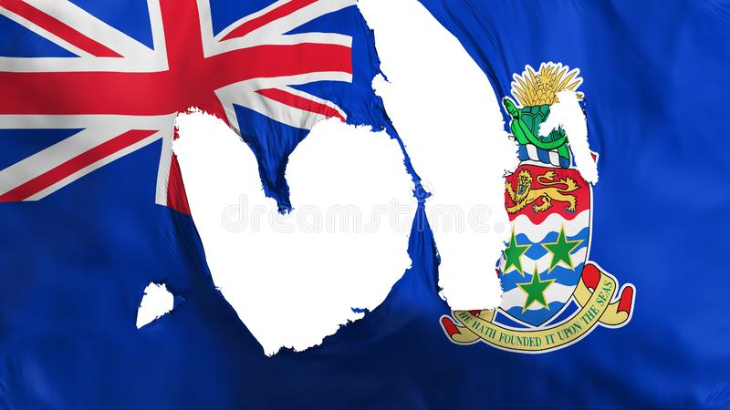 Ragged xxx flag. Ragged Cayman Islands flag, white background, 3d rendering stock illustration