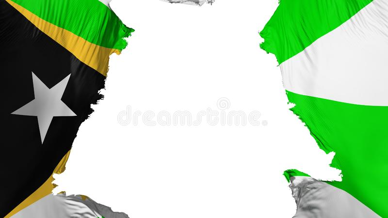Ragged Dili flag. Ragged Dili, capital of East Timor flag, white background, 3d rendering royalty free illustration