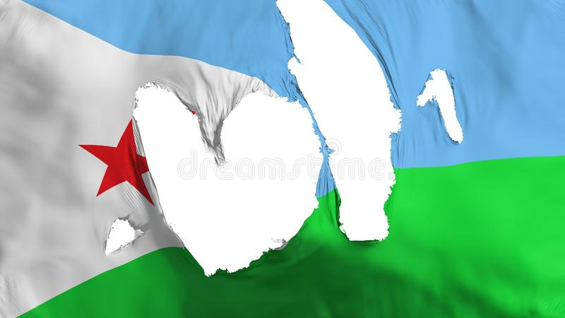 Ragged Djibouti flag. White background, 3d rendering stock illustration
