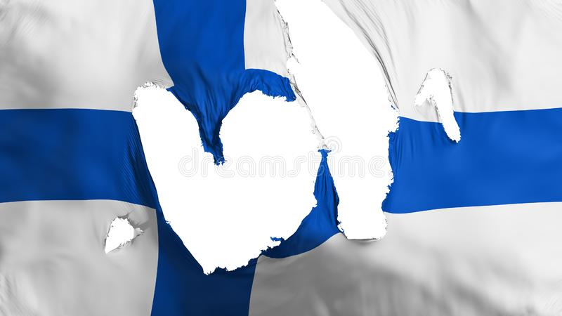 Ragged Finland flag. White background, 3d rendering royalty free illustration