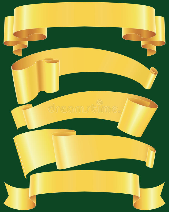 Ragged gold banners. And ribbons set vector illustration