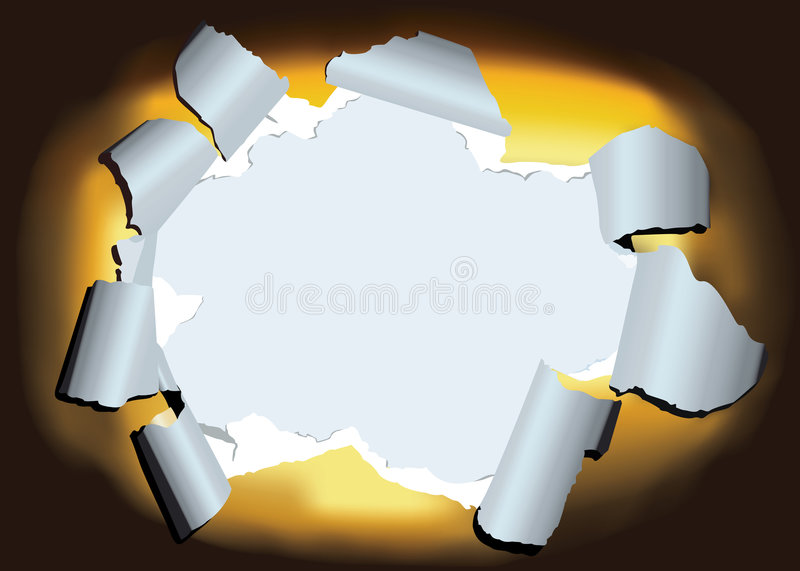 Ragged hole. The vector depiction of a ragged hole in the sheet of paper vector illustration