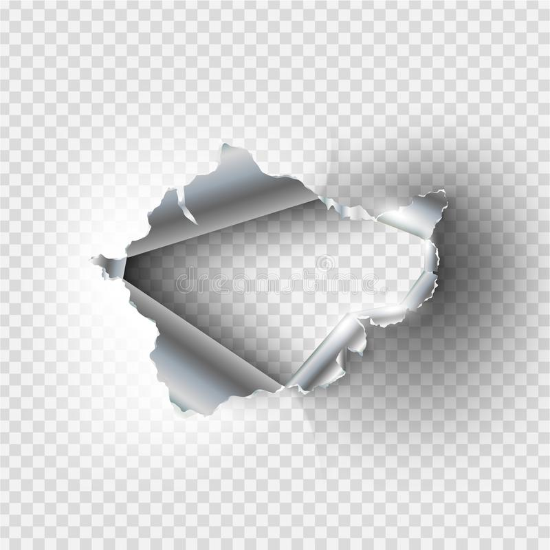 Ragged Hole torn in ripped metal. On transparent background royalty free illustration