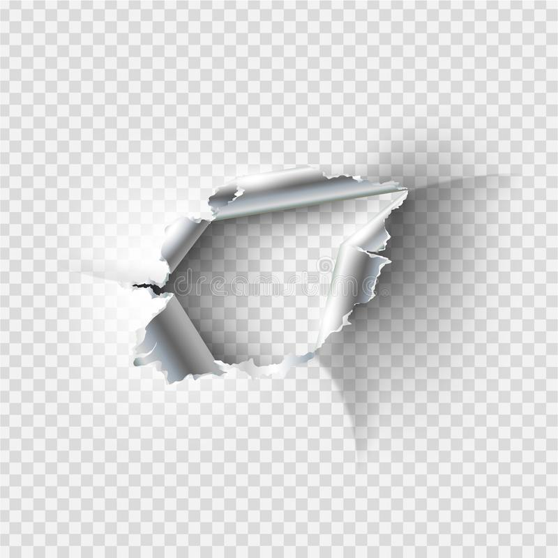 Ragged Hole torn in ripped metal. On transparent background vector illustration