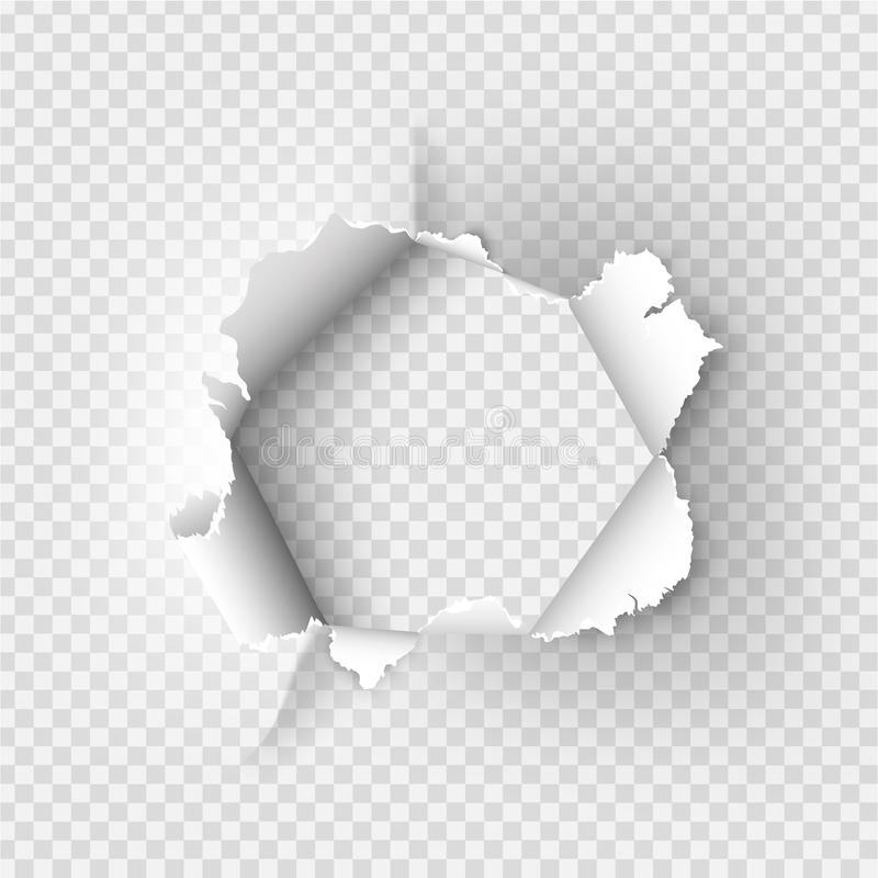 Ragged Hole torn in ripped paper. On transparent background vector illustration