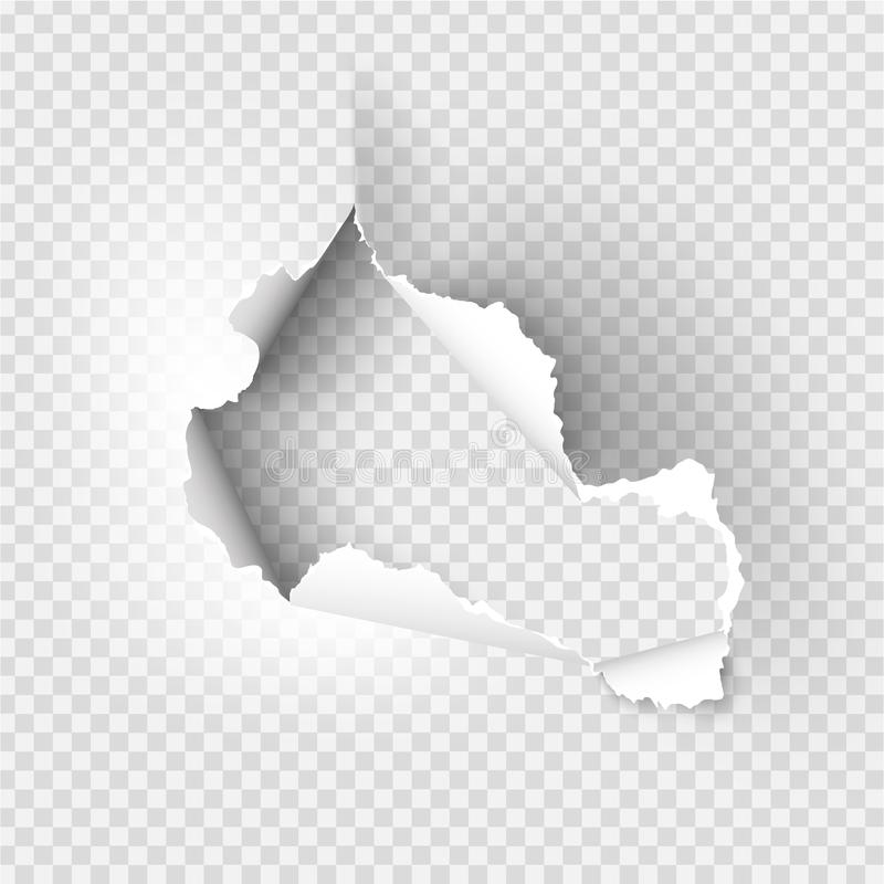 Ragged Hole torn in ripped paper. On transparent background stock illustration