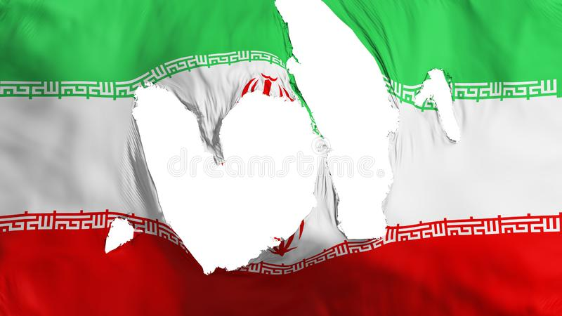 Ragged Iran flag. White background, 3d rendering royalty free illustration