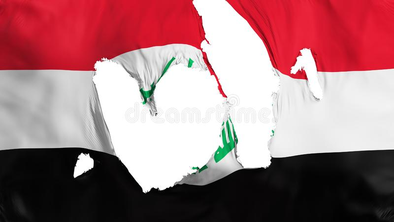 Ragged Iraq flag. White background, 3d rendering vector illustration