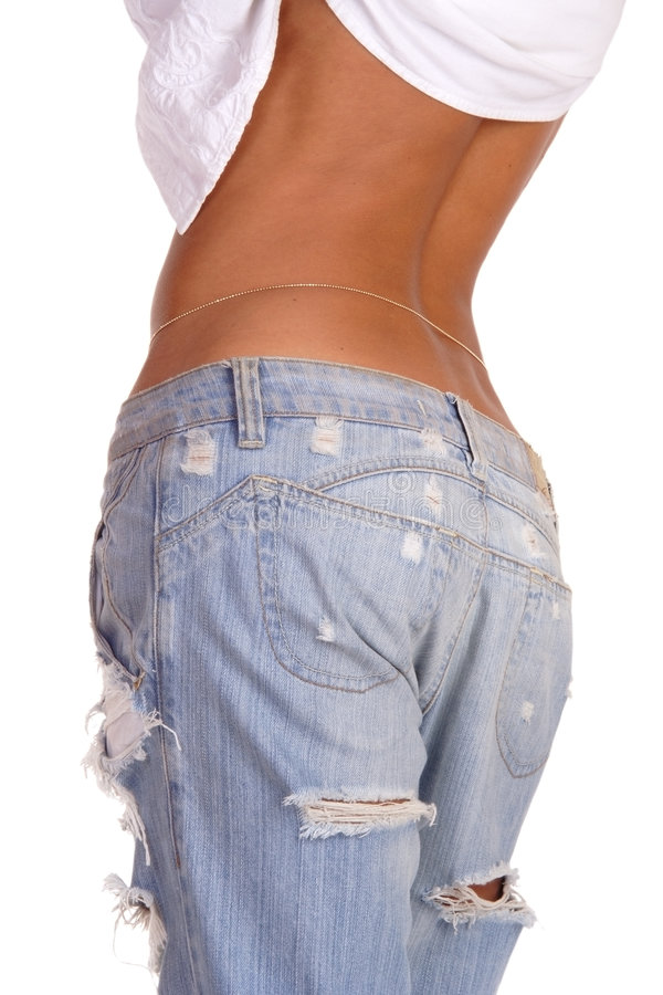 Ragged jeans stock photo