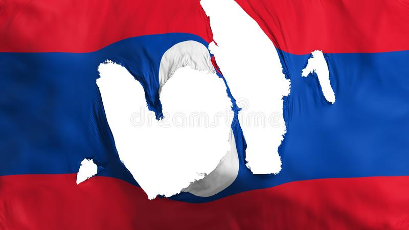Ragged Laos flag. White background, 3d rendering stock illustration