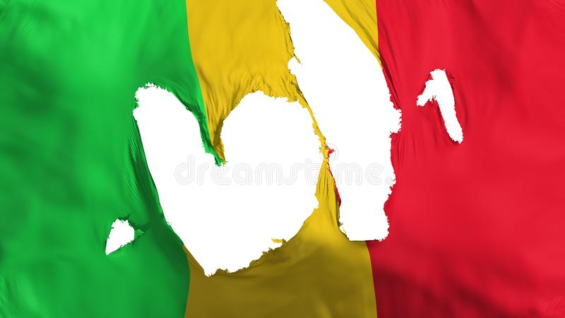 Ragged Mali flag. White background, 3d rendering vector illustration