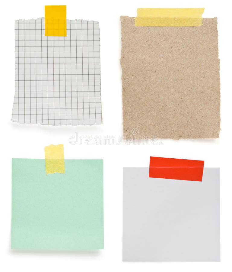 Ragged note paper and adhesive tape royalty free stock photography