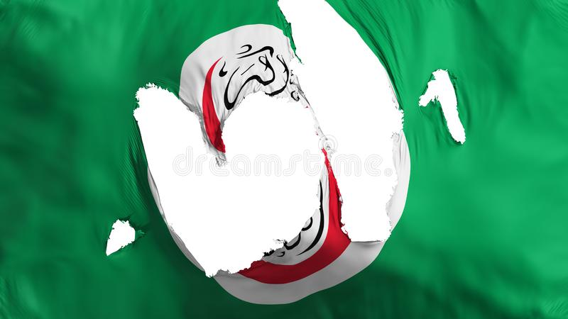 Ragged OIC flag. Ragged Organisation of Islamic Cooperation flag, white background, 3d rendering vector illustration