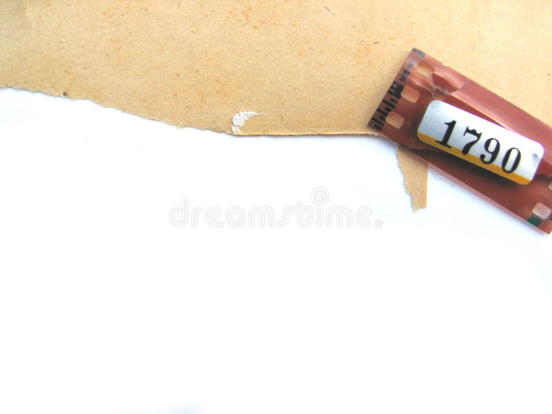 Ragged paper background with film strip detail stock images