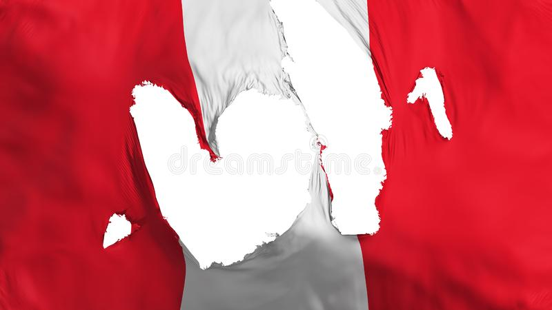 Ragged Peru flag. White background, 3d rendering stock illustration