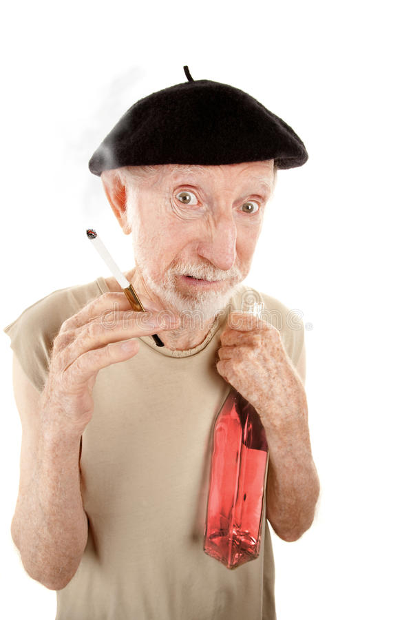 Download Ragged Senior Man With Cigarette And Liquor Stock Photo - Image: 12998982