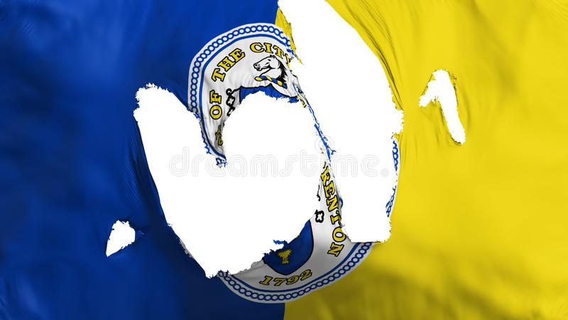 Ragged Trenton capital city flag. Ragged Trenton city, capital of New Jersey state flag, white background, 3d rendering vector illustration