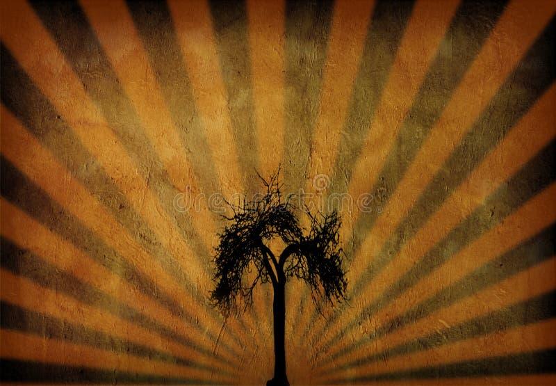 Raggi & albero di Grunge royalty illustrazione gratis