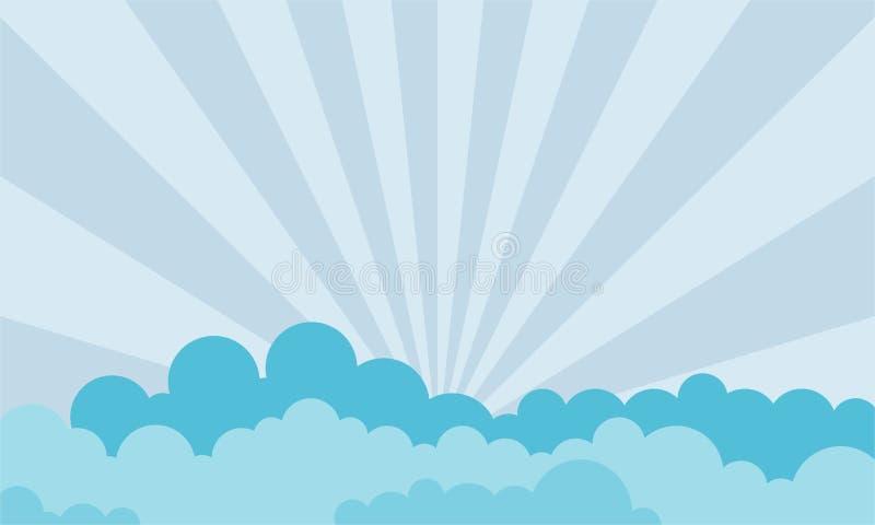 Raggi del sole che attraversa le nuvole - vettore illustrazione di stock