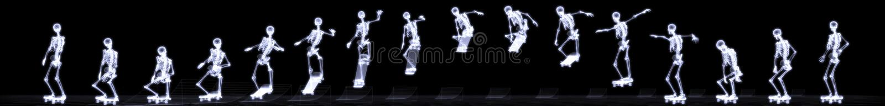 Raggi X di stile libero di salto di scheletro umano illustrazione di stock