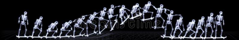 Raggi X di stile libero di salto di scheletro umano immagine stock libera da diritti