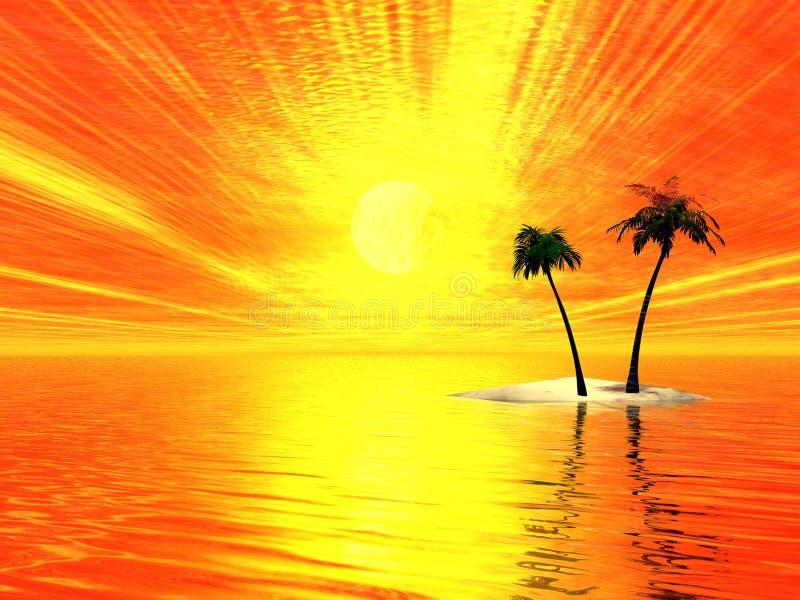 Raggi e palme pieni di sole illustrazione vettoriale