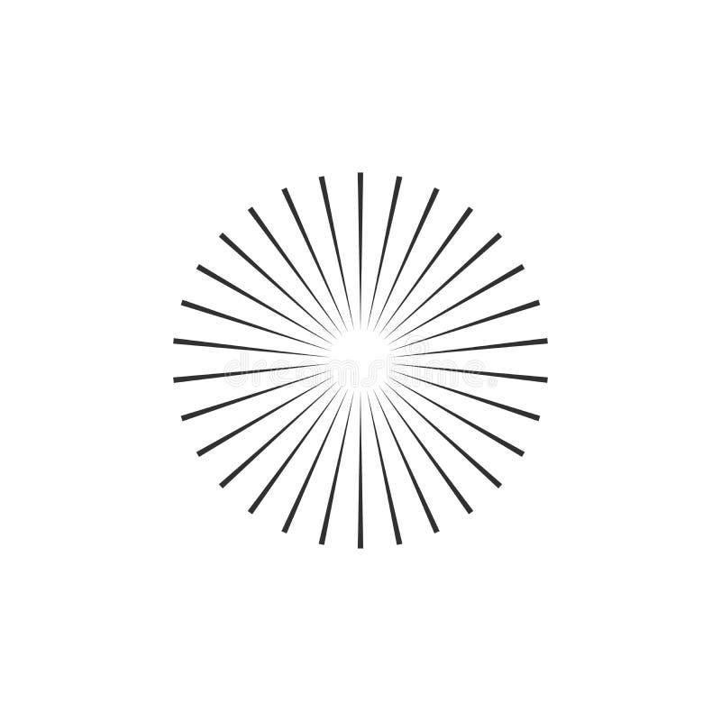 Raggi a fascio concentrico, elemento di cerchio geometrico Illustrazione vettoriale stock isolata su fondo bianco illustrazione di stock