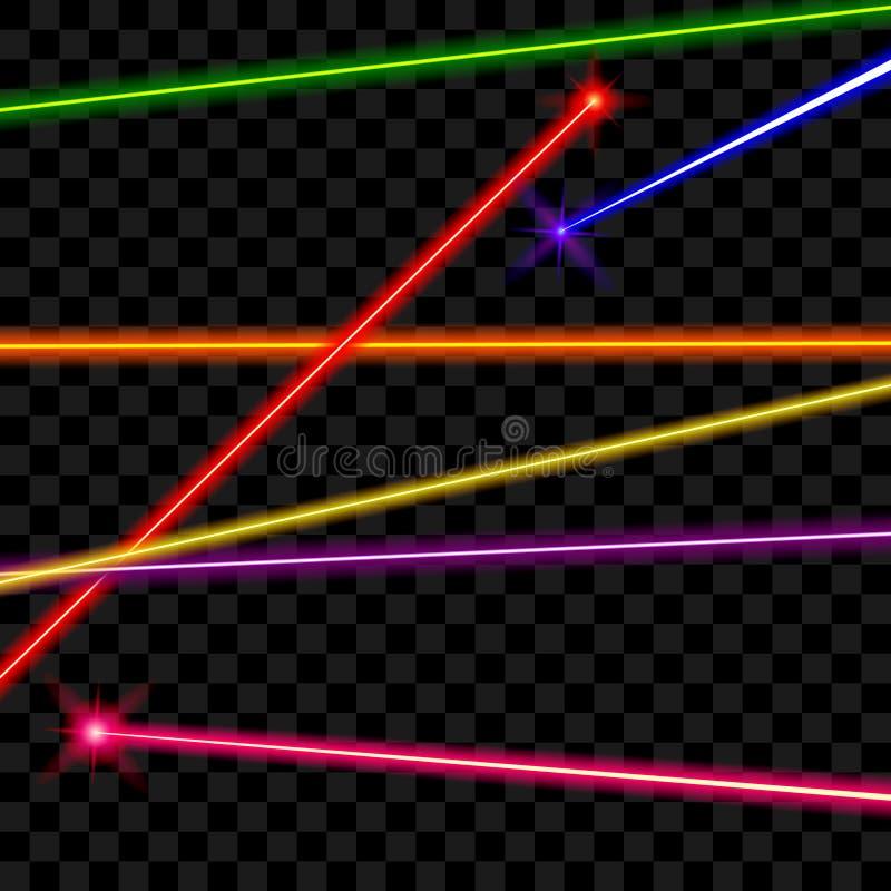 Raggi laser di vettore sul fondo trasparente del plaid illustrazione di stock