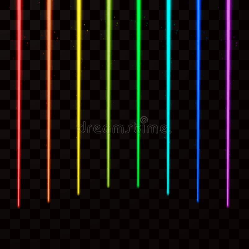 Raggi laser variopinti Il laser astratto rays tutto il colore dell'arcobaleno Illustrazione di vettore illustrazione di stock