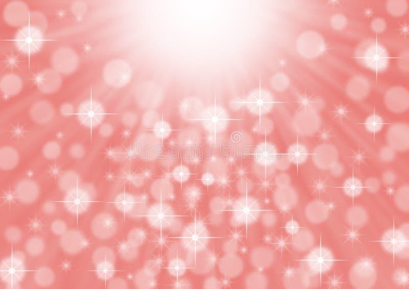 Raggi luminosi di luce intensa, scintille e Bokeh astratti nel fondo rosa immagine stock