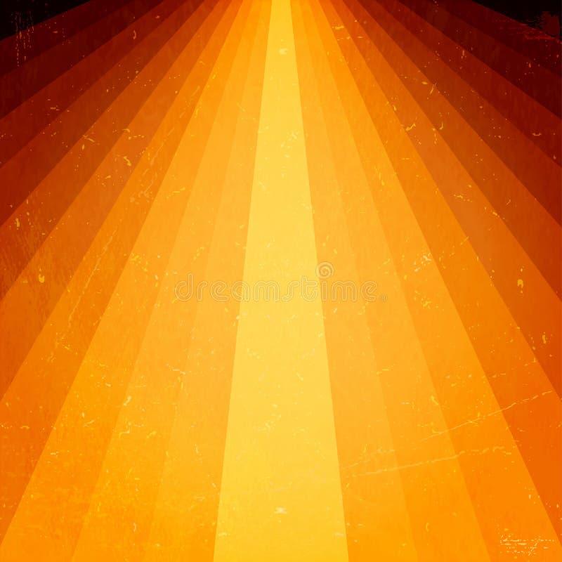 Raggi luminosi dorati con gli elementi del grunge illustrazione vettoriale