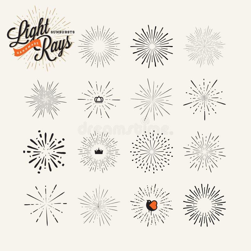 Raggi luminosi ed elementi disegnati a mano di progettazione dello starburst illustrazione di stock