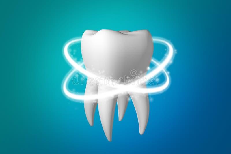 Raggi per proteggere ed imbiancare dente denti che imbiancano 3d rendono illustrazione di stock