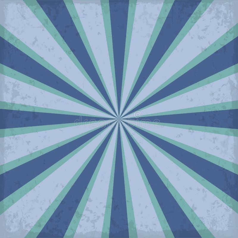 Raggio blu d'annata del sole o del sol levante, retro progettazione del fondo di esplosione solare illustrazione di stock