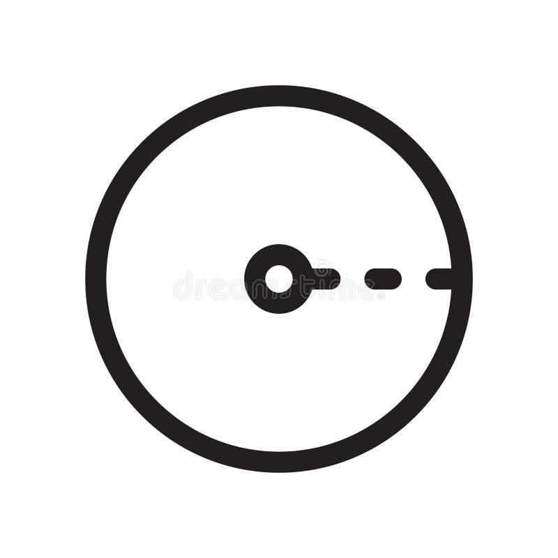 Raggio del segno e del simbolo di vettore dell'icona del cerchio isolato su fondo bianco, raggio del concetto di logo del cerchio illustrazione vettoriale