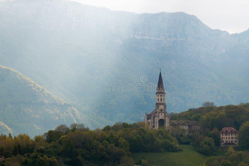 Raggio della chiesa di Annecy di luce fotografie stock
