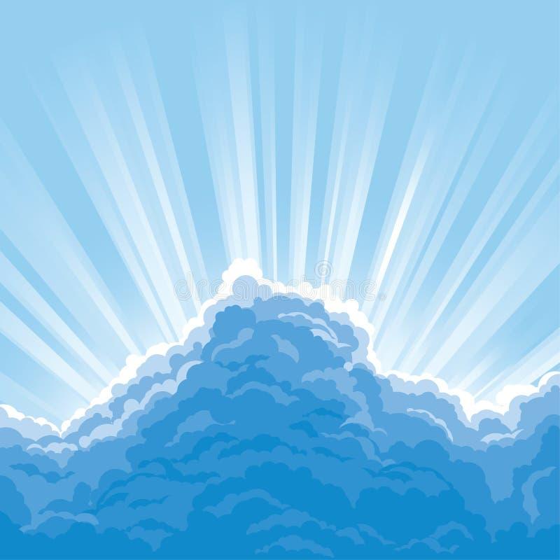 Raggio di sole dietro le nubi illustrazione vettoriale