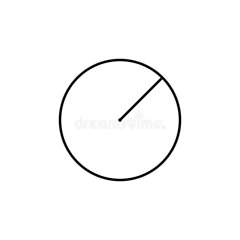 Raggio di un'icona del cerchio Figura geometrica elemento per i apps mobili di web e di concetto Linea sottile icona per progetta royalty illustrazione gratis
