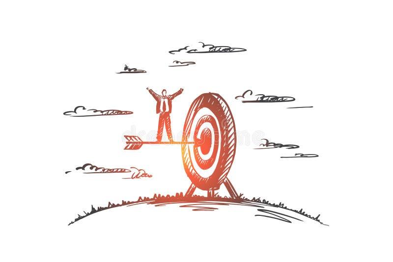 Raggiunga il concetto Vettore isolato disegnato a mano illustrazione di stock