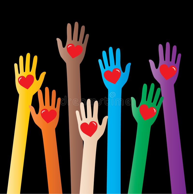 Raggiungendo le mani umane ami il rispetto di diversità illustrazione di stock