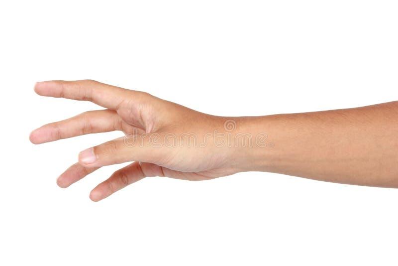 Raggiungimento del gesto di mano, isolato nel fondo bianco fotografia stock