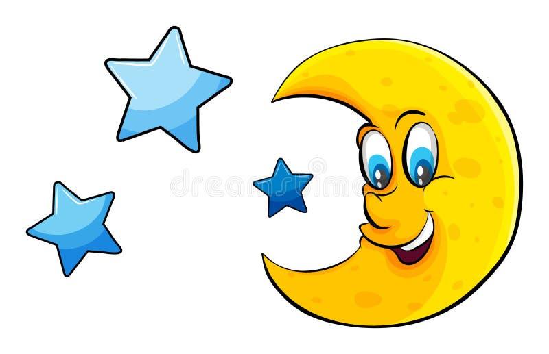 Raggiungimento la luna e delle stelle illustrazione di stock
