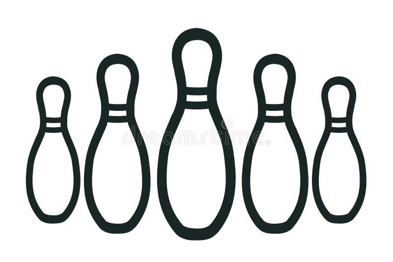 Raggruppi i perni di bowling, le ciotole di bowling - vettore royalty illustrazione gratis