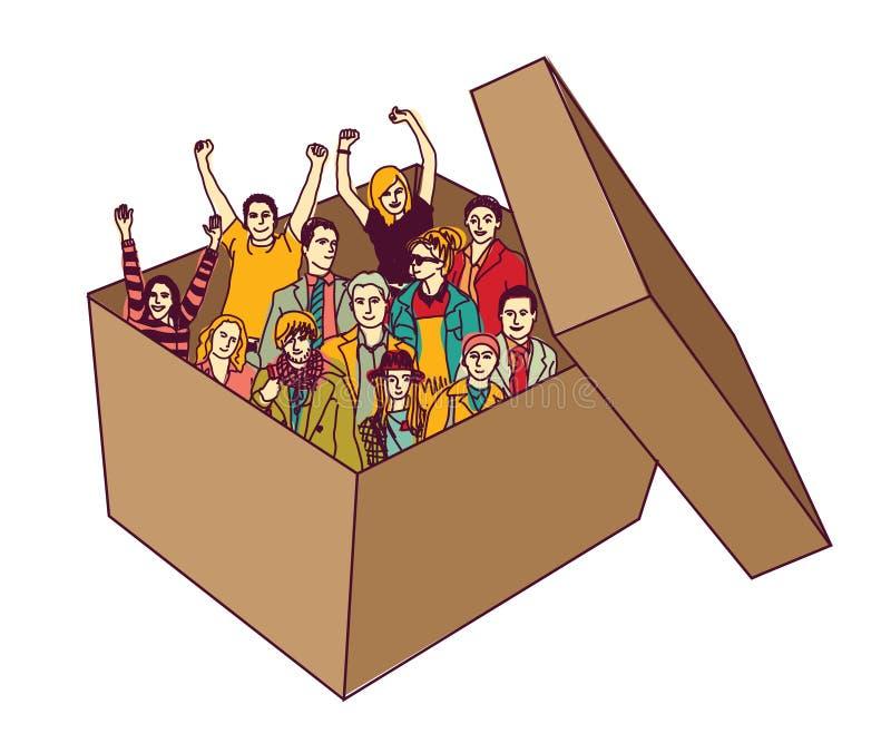 Raggruppi la gente felice del gruppo di affari nell'isolato della scatola illustrazione di stock