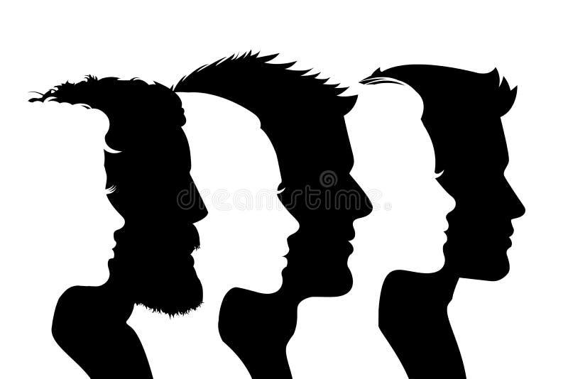 Raggruppi la gente, la siluetta di profilo affronta le ragazze ed i ragazzi – vettore illustrazione di stock