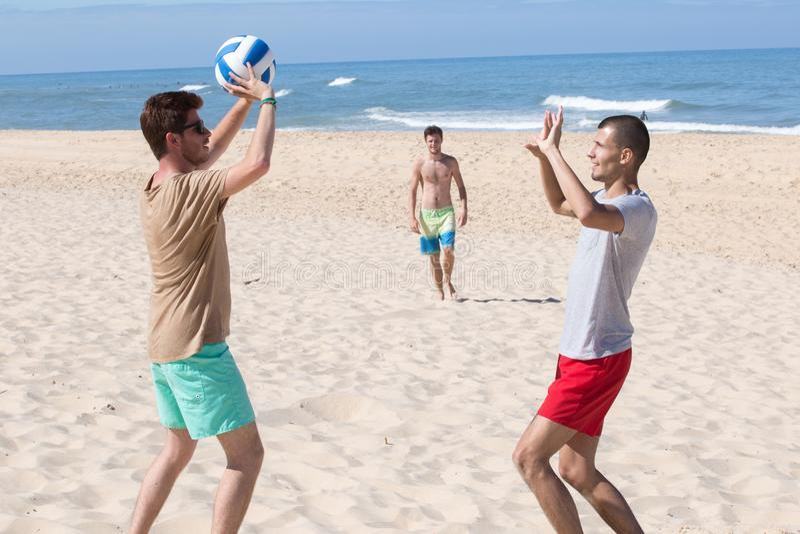 Raggruppi le giovani ragazze allegre che giocano la pallavolo sulla spiaggia immagine stock libera da diritti