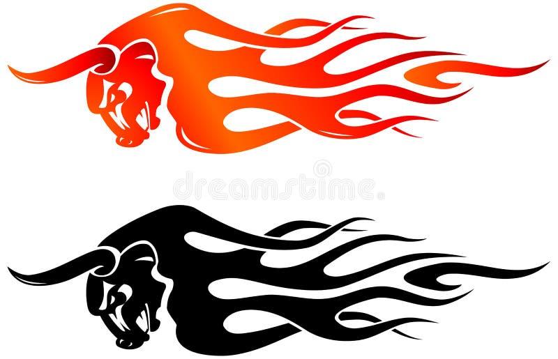 Raging Bull Flame royalty free illustration