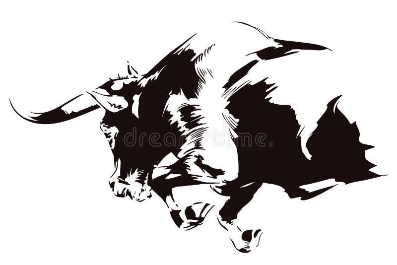 Raging Bull napadanie tła jaskrawy ilustracyjny pomarańcze zapas ilustracji